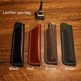 Wholesale Little Notebooks Wholesale - Wholesale-Handmade notebook penbag genuine leather cover penbag 4 colors black little green pen bag can capatency 2 pens school supplies