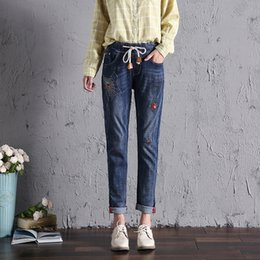 Wholesale Spider S Web - Wholesale- Lulu Classic Denim Jeans for Woman Embroidery Spider Web Rip Decoration Drawstring Elastic Waist Plus Size High Quality