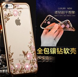 Wholesale Rubber Iphone 5s Covers Clear - Clear Bling Diamond Crystal Flower Plating TPU Soft Case For Apple iPhone 7 plus 6s 6 plus 5s SE 5 rubber Phone Covers