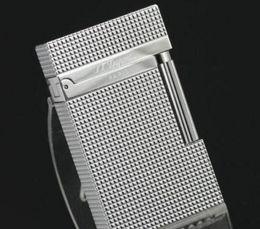Revestimiento de gas online-Encendedor de gas ST Revised Line 1 Silver Plated Pequeño diamante cabeza