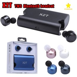 Wholesale Mix Mobile Cases - X2T Twins Earphone Twins Headphone Headset Earbuds Wireless Bluetooth 4.2 With Magnetic Charging Case for Mobile Phone