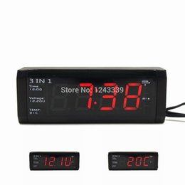 Wholesale Clock 12v - Wholesale- 3 in 1 Car Digital Clock With Voltmeter and Thermometers For 12V 24V No button cell 20 days plug out working time