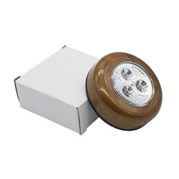 Wholesale Stick Tap Led - 3LED touch lamp pat lights Car Ceiling Wall Cabinet Light Wood Grain Round Battery Powered Stick Tap Touch Light Click Lamp