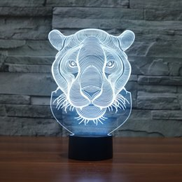 Wholesale Illusions Gifts - Wholesale- Lion Head Shape illusion 3D Lamp 7 Color Changing Animal Led Night Lights USB LED Desk Table Lamp as Home Decoration Gift