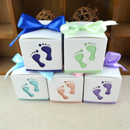 Wholesale Favor Express - Express it in baby footprints Box 500 PCS LOT wedding baby small birthday baptism party candy gift favor Box