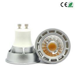 Wholesale Dimmable Mr16 Led Downlights - Dimmable CREE GU10 MR16 E27 cob Led Bulb Light 5W 7W cob Led Spot Bulbs downlights Lamp AC 85-265V or 12V warm white