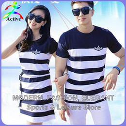 Wholesale Korea Man Clothes - Wholesale-Fashion Couple Clothes Lovers T Shirts Men Women Summer Valentine's Day Casual Beach Wear Cute Korea Matching Couple Shirts 2210