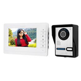 Wholesale Wired Video Intercom Doorbell Systems - 7 Inches Digital HD Wired Doorbell Camera Video Intercom Door Phone System Wide Angle Peephole Viewer