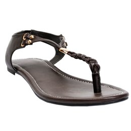 Wholesale Best Beach Shoes - Zandina New Arrival Best Selling Womens Fashion Handmade T-strap Ankle Strap Flat Sandals Beach Shoes Deepbrown XD180