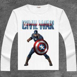 Wholesale Cotton Civil War - Captain America T shirt Super hero long sleeve Civil War tees Film clothing Men cotton Tshirt
