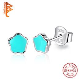 Wholesale Black Enamel Earrings For Women - BELAWANG Exquisite 925 Sterling Silver Flower Stud Earrings for Girls Fashion Jewelry Black&Blue&Pink Enamel Earring Women Birthday Gift