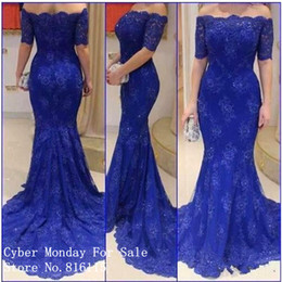 Wholesale Nude Boat Neck - Charming Boat Neck Royal Blue Lace Long Evening Dress with Short Sleeves Robe de Soiree 2018 Plus Size Mermaid Evening Dress
