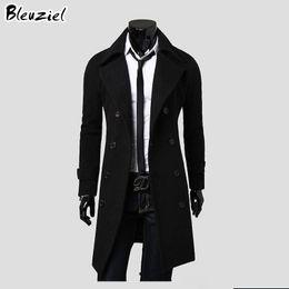 Wholesale Unique Wool Coats - Wholesale- 2016 Winter Casual Men'S Overcoat Special Offer Wholesale Unique Slim Outerwear Long Design Double Breasted Wool Coat