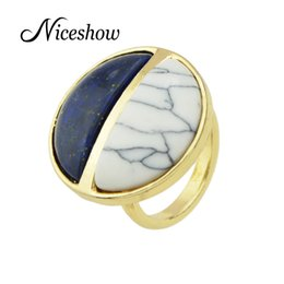 Wholesale Turquoise Stone White Gold Ring - New Indain Jewelry Boho Rings Gold Plated with White Blue Turquoise Round Finger Rings For Women