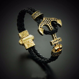 Wholesale Bangles Stainless Steel Beads - BC Atolyestone Emperor Bead Bracelet Gold Bracelets Anchor Leather Cuff Bracelets & Bangles Men Women Mujer Pulseras