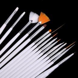 Wholesale Nails Ge - Wholesale- 15Pcs Set Manicure Set Dotting Painting Drawing Pen Nail Art UV Ge Brushes Set Kit For Nails JH035