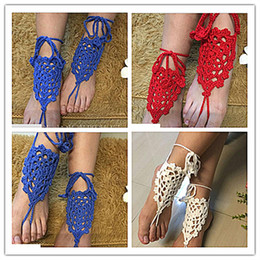 Wholesale Pool Bridesmaid - Crochet Barefoot Sandals Beach Pool Nude Shoes Anklets Women Bridal Bridesmaid Wedding Accessory Lace Foot Jewelry