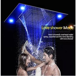 "Wholesale Large Ceiling Shower Heads - Luxury 31"" 600x800mm Large Rain Shower Set Waterfall LED Recessed Ceiling-mount 4 Function Shower Head,Remote Control"