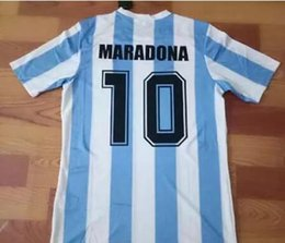 Wholesale Vintage Football Shirt - 86 top thailand quanltiy Argentina Retro Soccer Jersey Maradona 1986 Vintage Throwback Classic Football Shirts