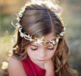 Wholesale Baby Wreaths - Travel Summer Seaside Baby Rose Flower Garland Wedding Flower Leaves Girl Headband Elastic Hairband Crown Wreath Headdress