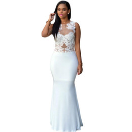 Wholesale Fashion Ankle Support - Qianyan Sexy Women Dresses 2016 New Fashion Casual White Lace Nude Mesh Evening Maxi Dress QY60836 Support Drop Shipping