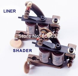 Wholesale Danny Tattoo - un rack Freeshipping 2pc Lot New Danny Brass Tattoo Machine Gun shader&liner 10 12 Wrap Coil Equipment Set with 2pc beatiful packing ...