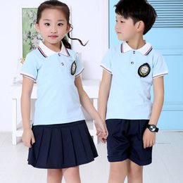 Wholesale European Style Women Suit - 2 pieces 2017 new summer children's wear short-sleeved suit European and American boys T-shirt shorts women short skirts fashion casual