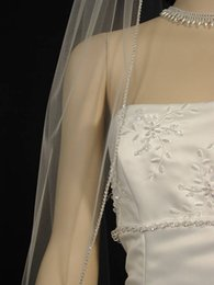 Wholesale White Embroidered Flower Appliques - One Layer Fingertip Length Rhinestones Edge Wedding Veil Whit Ivory Bridal Veil Tulle With comb 128a