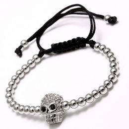 Wholesale Skull Heads Beads - Adjustable Bracelet White Gold Plated Strands With Alloy Skull Head Mens Bead Bracelets Beaded Bracelets For Men 16B017R