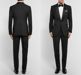 Wholesale Slim Suits For Cheap - 2017 Slim Fit Cheap New Male Suits Shawl Lapel One Button Baw Tie Groomsman Tuxedos Wedding groom Suits For Man