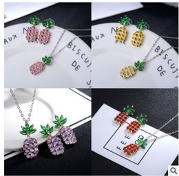 Wholesale Needle Sterling - Pineapple earrings with zircon 925 sliver needle allergy free earrings necklaces Long lasting color preserving