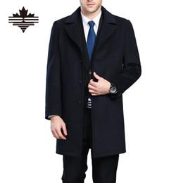 Wholesale Mens Wool Cashmere Blend Overcoats - Wholesale- Plus Size Winter Mens Long Coats 3XL 4XL Men's Woolen Jackets Cashmere Coat Business Casual Wool & Blends Jacket Overcoat
