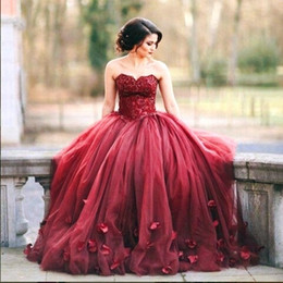 Wholesale Basque Waist Dress - 2017 New Burgundy Ball Gown Quinceanera Dresses Lace Bodice Basque Waist Corset Back Long Prom Dress 3D Flowers Tulle Sweet 16 Dresses Gowns