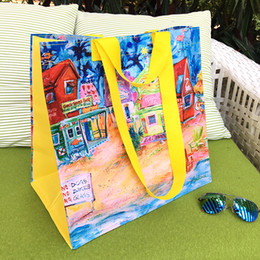 Wholesale Oil Painting Women Handbag - 2017 Fashion Oil Painting Waterproof PVC Bags Eco-friendly Shopping Storage Bags Brand Handbags Europe Style Women Crossbody BagsTote Gifts