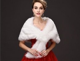 Wholesale Stole Bridal Tulle - Free Shipping New White Winter Faux Fur Wedding Wrap Bridal Cape Bridal Wrap Shrug Stole Cape Jacket Women Wedding Shawl Wedding Accessories