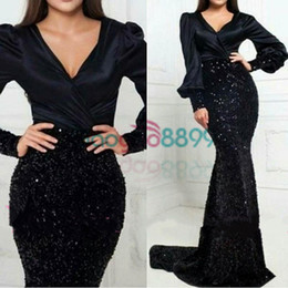 sexy backless club shirt Promo Codes - 2019 sparkly Mermaid Sexy Black Evening Dresses Long Sleeves V-Neck velvet beaded Party Prom Gowns Arabic Qatar Vestidos