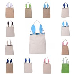 Wholesale cotton storage basket - 8rj Practical DIY Embroider Cotton Linen Basket Bag Easter Bunny Ear Bags For Children Gift Packing Handbags Foldable Storage Pouch Popular