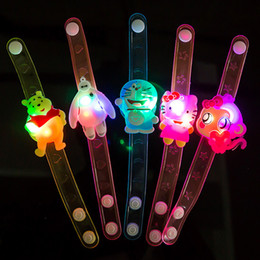 Wholesale Luminous Silicone Wristbands - Cartoon LED Bracelets Wristband Children Flash Soft Silicone Bracelet Luminous Hand Rings Kids Holiday Party Gifts Toys Props Free DHL 198