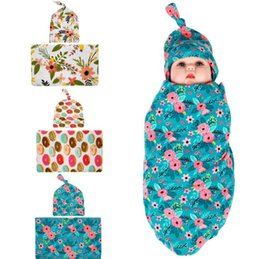 Wholesale Paisley Towel - baby flower swaddle wrap blanket wraps blankets Floral nursery bedding towelling baby infant wrapped towels with flower hat