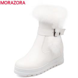 Wholesale Ladies Footwear Boots - Wholesale-MORAZORA 2017 Big size 34-43 new women boots rabbit fur winter keep warm snow boots round toe platform lady ankle boots footwear