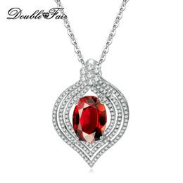 Imitaciones joyas online-Nuevo corazón ovalado de imitación de cristal clásico colgante collares chapado en oro blanco joyería al por mayor para las mujeres Wedding DFN617