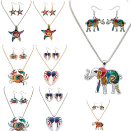 Wholesale Gifts Starfish Lovers - Jewelry Sets Earring Necklace lag Pattern jewelry Elephant crabs Starfish star necklace earring set American wings necklace earrings 161915