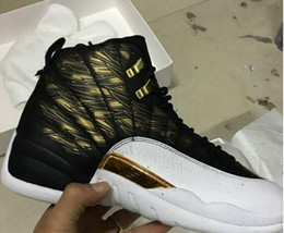 Wholesale Rubber Wings - New October's Very Own OVO Drake White Black gold Wings 12 Basketball Shoes Men 12 Retro Sneakers Men's 12s Shoes size 8-12