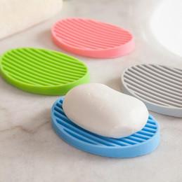 Wholesale Design Soap - Silicone Flexible Toilet Soap Holder Plate Hollow Design Non Residue with Water Bathroom Soap box Anti Slip Soap Dish Holder KKA2152