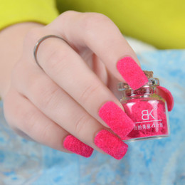 Wholesale Sweet Nail Polish Candy - Wholesale-Fashion Candy Colors Plush Velvet Powder Varnish Sweet 3D Special Design Nail Art Polish Beauty Artificial Decoreations 1622937