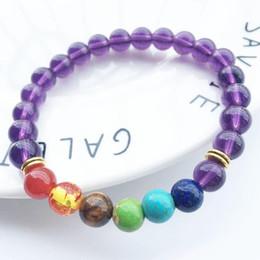 Wholesale Amethyst Buddha - New 7 Chakra Bracelet Women Men Black Lava Healing Balance Beads Reiki Buddha Prayer Natural Stone Yoga Bracelets