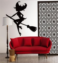 Wholesale Witches Wall Stickers - 2017 Creative DIY PVC Halloween Broom Witch Wall Sticker Black Removable Windows Decorating art Sticker Decor with opp bag