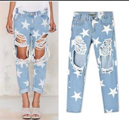 Wholesale Big Star Capris - Womens Big Hole Ripped Blue Boyfriend Jeans for women distressed Straight Mid Waisted Jeans Stars Print Denim Capris jeans Bottom Cuffs