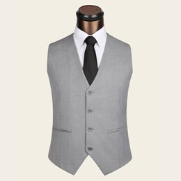 Wholesale Pluse Size Dresses - Wholesale- New 2017 Men Vests Wool 85% + Viscose 15% Dress Suit Vest Pluse size S-4XL MAX Chest 116CM