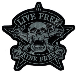 Wholesale Soa Wholesaler - Original Skull LIVE FREE RIDE FREE Motorcycle Biker Vest Patch SOA Embroidered Patch Rider Punk Badge G0378 Free Shipping